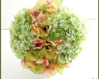 wedding bouquet/pink-green - Bridal Bouquet Shabby / decoration, pink/coral/green-lime - flowers fabric and Organza