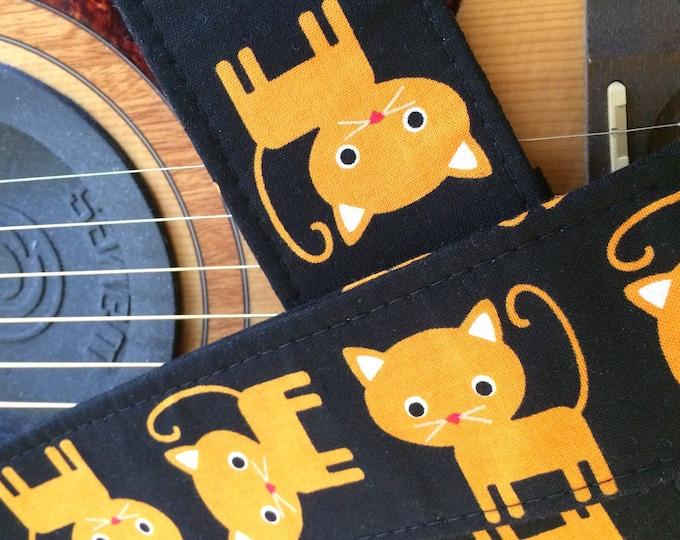 Cat guitar strap // cute orange cats on a black background // Halloween guitarist gift // rock'n'roll/rockabilly cat guitar strap