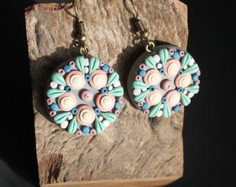 grey and multicolor mandalas doting earrings