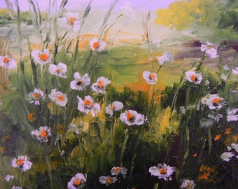 Daisies in the Meadow oil knife painting