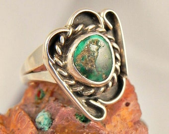 Native American Green Turquoise Sterling  Ring