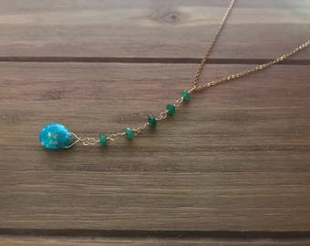 Genuine Turquoise & Green Jade Lariat Necklace ~ Gold Fill ~ December Birthstone ~ Bridesmaid Necklace ~ Minimalist Necklace ~ Y Necklace