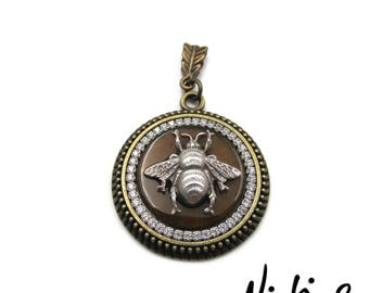 Antique Silver Plated Brass Bumble Bee - Rhinestone - Antique Bronze Pendant Necklace (BRNK137)