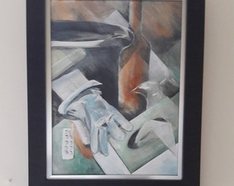 cubist copper and grey limited edition contemporary acrylic painting limited edition giclee print wall art home decor christmas gift