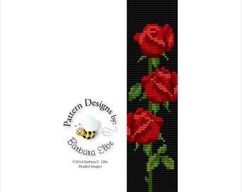 Red Rosebud Beaded Bracelet Cuff Loom or Square Stitch #34-B