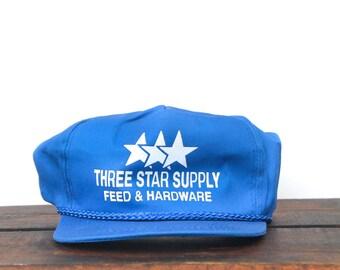 Vintage Trucker Hat Snapback Hat Baseball Cap 3 Star Supply Feed & Hardware Store