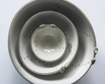 grey ceramic bowl set, modern, minimalist ceramics, simple ceramic bowls, grey tableware, gift for host, gift for men, housewarming gift