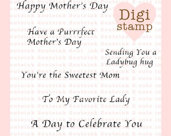 Mother's Day Digital Stamp Sentiments for Card Making, Scrapbooking and Paper Crafts