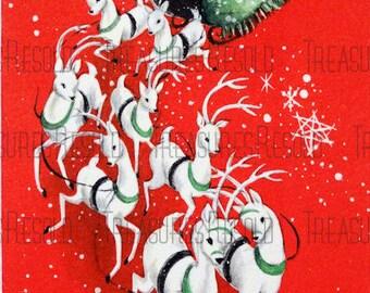 Santa Sleigh Reindeer Christmas Card #105 Digital Download