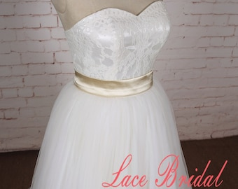 A Line Wedding Dress with Sweetheart Neckline Lace Wedding Dress with Champagne Ribbon