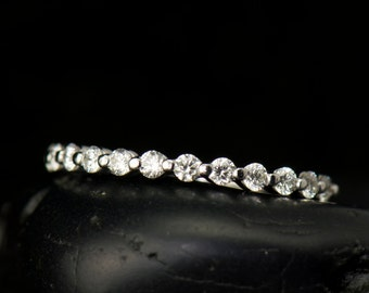 Single Shared Prong Diamond Wedding Band in White Gold, Round Brilliant Cut, 0.36tcw, Closed Baskets, 1/2 Eternity, Brooke