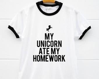 My unicorn ate my homework shirt unicorn ringer tshirts funny school tshirt back to school i'm a unicorn tshirts with sayings womens tshirts