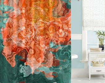 orange and teal shower curtain. Abstract art shower curtain  contemporary bathroom decor mildew resistant waterproof fabric