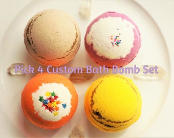 Bath Bomb - bathbombs - bath bomb gift set - pick 4 - self care - graduation gift - birthday gift - baby shower gift - lush - natural
