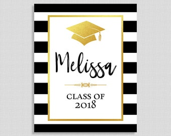 Personalized Graduation Party Sign, Gold, Black & White Striped Sign, Custom Made Graduation Sign, 8x10 inches, DIY PRINTABLE