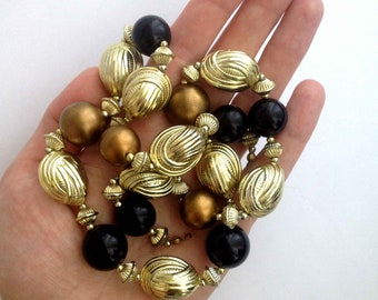 Vintage large beads gold bronze black necklace | Chunky beaded necklace | Mod jewelry