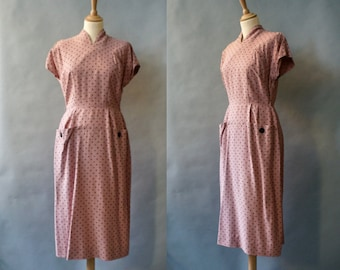 1940s Dusty Pink and Black Dotted Dress
