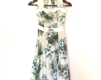 Vintage Green Hibiscus Floral Halter Neck Full Skirt Skater Dress | X Small 6-8