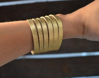 Metallic gold cuff bracelet, cuff bracelet, leather cuff, gold leather cuff bracelet