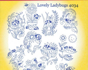Lovely Ladybugs Aunt Martha's Embroidery Transfer Designs Pattern #4034
