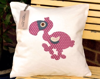 """HALF PRICE!Dodo Cushion - Pink polka, green polka, blue collage, floral, """"The Last of the Dodos"""" Collection, Tamsin Reed Designs"""