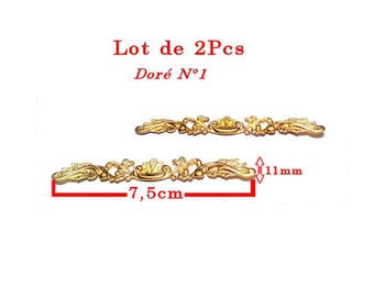 Vintage line shell embellishments and leaves. Length 7.5 cm and height 11mm, gold tone set of 2Pcs