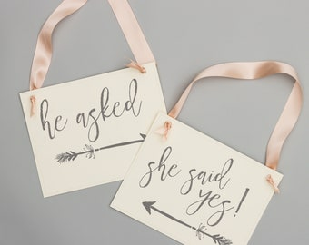"""Wedding Engagement Announcement Signs """"He Asked"""" and """"She Said Yes"""" Proposal Banners (Set of 2 Signs) Whimsical Arrows Feathers Boho 1903 BW"""