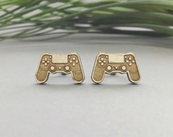 PS4 Controller Earrings - Laser Engraved Wood Earrings - Hypoallergenic Titanium Post Earring Pair - Playstation Controller