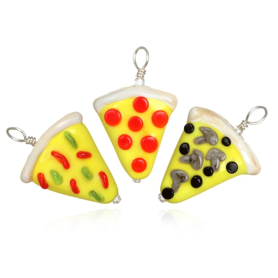 Glass Pizza Slice Pendant Necklace on Leather