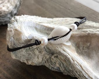 Cowrie Shell and Pearl Anklet