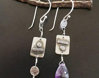 Amethyst earrings,asymmetrical earrings,amethyst,maggiesmeltdown,Maggie's Meltdown,silver,silver earrings,long dangles,statement, purple