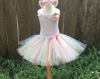 Pastel unicorn costume - unicorn tutu dress -  girls costume - Halloween costume - unicorn dress -pink white mint gold tutu -unicorn costume
