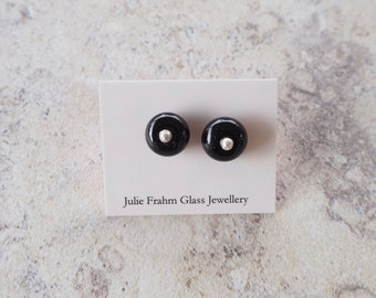 Black stud earrings. Perfect everyday earrings. Handmade glass beads, sterling silver. Minimal studs for every occasion.