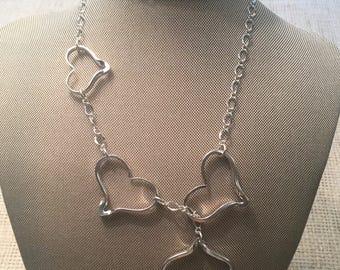 Silver Heart Lariat Necklace