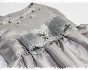 Bridesmaid Dog Dress - XS, S... Silver Dog Dress,Special Occasion Dog Dress,Dog Dress with Pearls,Dog Flower Girl,Wedding Dog Dress, Wedding