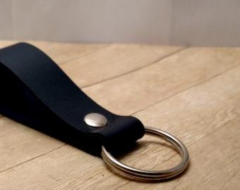 Wide Navy Blue Leather Key Ring, Leather Keychain, Unisex Key Fob, Blue Key Holder, Purse Accessories, Dark Blue Leather Keyring