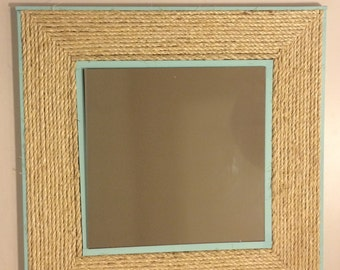 Beach Glass Blue Nautical Natural Rope Mirror