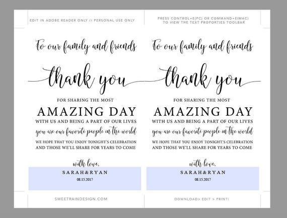 Wedding Thank You Note Template Wedding Table Thank You