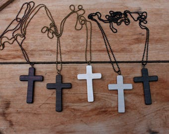 Large Cross Necklace, Wood Cross Necklace, Men's Cross Necklace, Women's Cross, Wooden Cross, Rustic Brown, Black Chain, White Cross Pendant