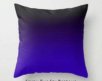 Blue Black Ombre Pillow, Blue Toss Pillow, Blue Black Toss Pillow, Blue Throw Pillow, Blue Black Throw Pillow, Blue Bedroom, Blue Black Room