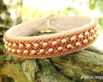 Viking Sami Bracelet, ROSKVA with Copper beads in Copper braid on silksoft Natural Reindeer Leather - Handcrafted Nordic Spirit