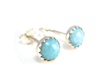 Larimar Stud Earrings, 5mm Light Blue Gemstone Studs