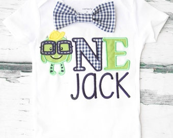 Baby boy Monster first birthday onesie gingham navy Monster Nerdy monster boy one year outfit Scary Monster Navy ginghambow tie boy birthday