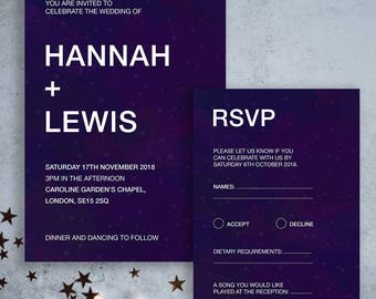 Celestial Wedding Invitations, RSVPs, Info Cards. Personalised Wedding Stationery.