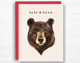 Papa Bear Card - Father's Day Card - Dad Card - Watercolor Father's Day Card - Dad Birthday Card - Papa Card - Dad Card from Kids