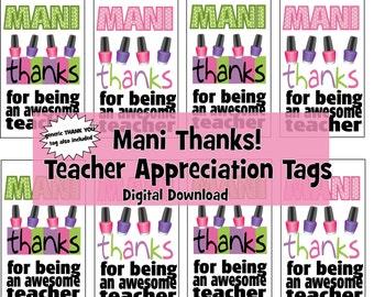 Manicure Gift Tag - Teacher Appreciation & Thank You - Digital Download