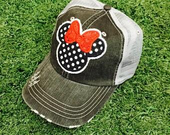 Minnie Mouse Disneyland Disney World Baseball Bling Ladies Womens Trucker Hat