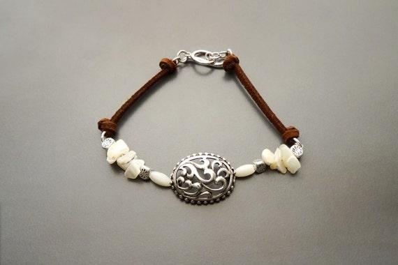 Boho Silver Bracelet - MOP - Sterling Silver, Bracelet set with Mother of Pearl - Filigree - Boho jewelry. Brown Leather, Tribal, Boho,