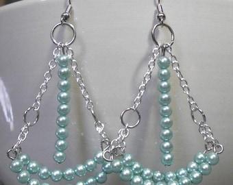 Medium chandelier earrings with small dusty blue beads