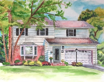 12x9 Watercolor home portrait